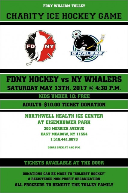 CHARITY HOCKEY GAME vs NEW YORK WHALERS FOR FIREFIGHTER WILLIAM TOLLEY L-135