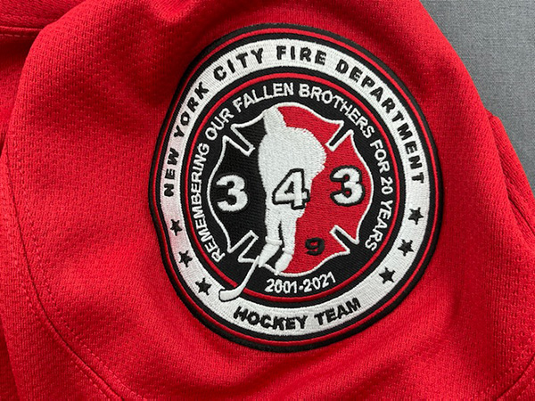20th Anniversary of 9/11 Commemorative FDNY Hockey Team - Red Replica Hockey Jersey #20 On Back - Adult Sizes