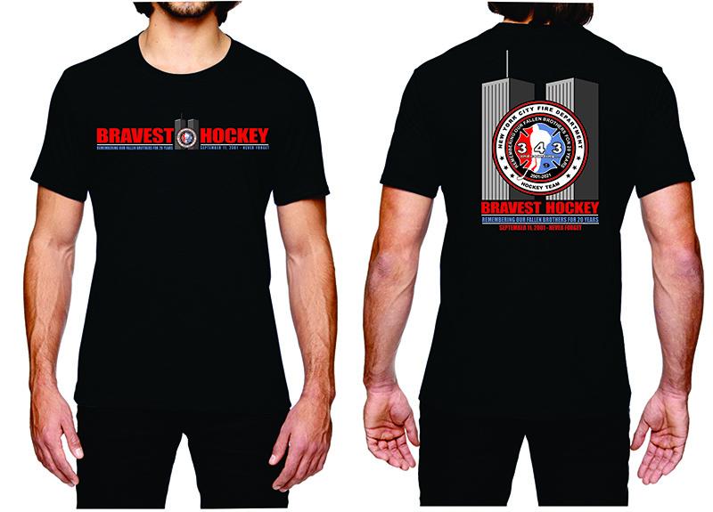 20th Anniversary of 9/11 Commemorative FDNY Hockey Team Short Sleeve T-Shirt Black