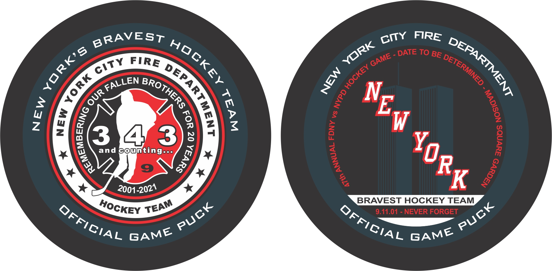20th Anniversary of 9/11 Commemorative FDNY Hockey Team - Official Game Puck