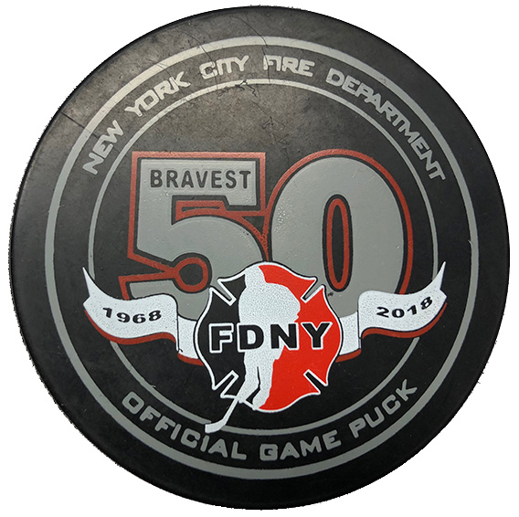 Official FDNY Hockey Team 50th Anniversary Game Puck