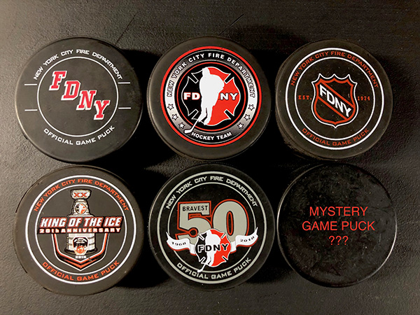SIX Total Official FDNY Hockey Team Pucks - VERY LIMITED