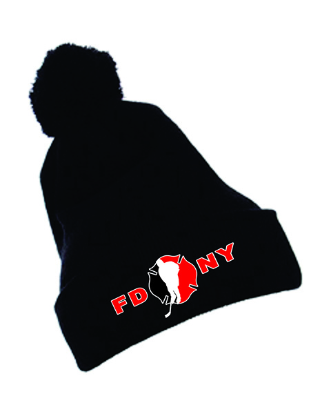 FDNY Hockey Winter Pom Pom Black Cap