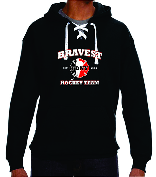 FDNY Hockey Team Logo Hooded Lace Style Sweatshirt - Black