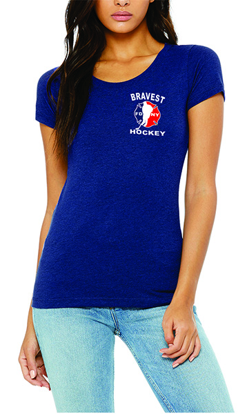 FDNY Hockey Buff Logo Ladies Short Sleeve T-Shirt - Blue