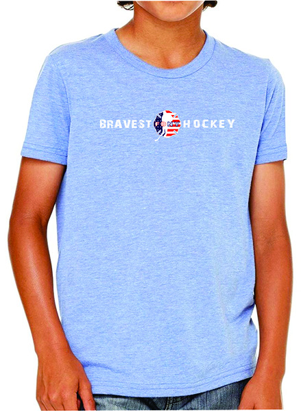 FDNY Hockey USA Flag Logo Kids Short Sleeve T-Shirt - Blue