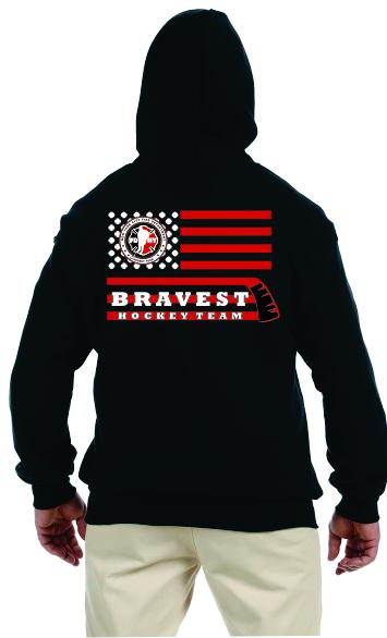 Hockey Stick Flag - Full Zip Hooded Sweatshirt - Black