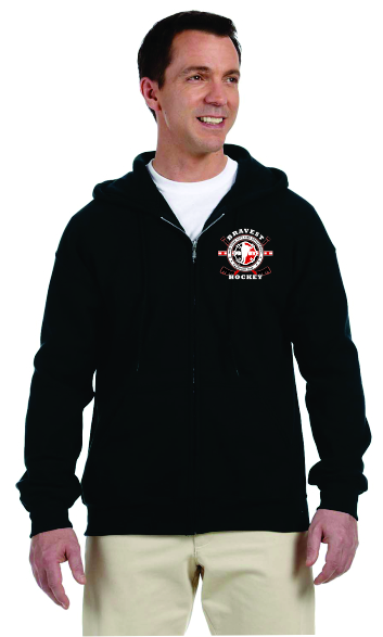 Hockey Stick Flag - Full Zip Hooded Sweatshirt - Black