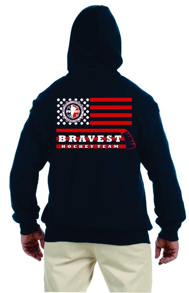 Hockey Stick Flag - Full Zip Hooded Sweatshirt - Navy Blue
