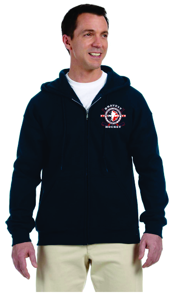 Hockey Stick Flag - Full Zip Hooded Sweatshirt - Navy Blue