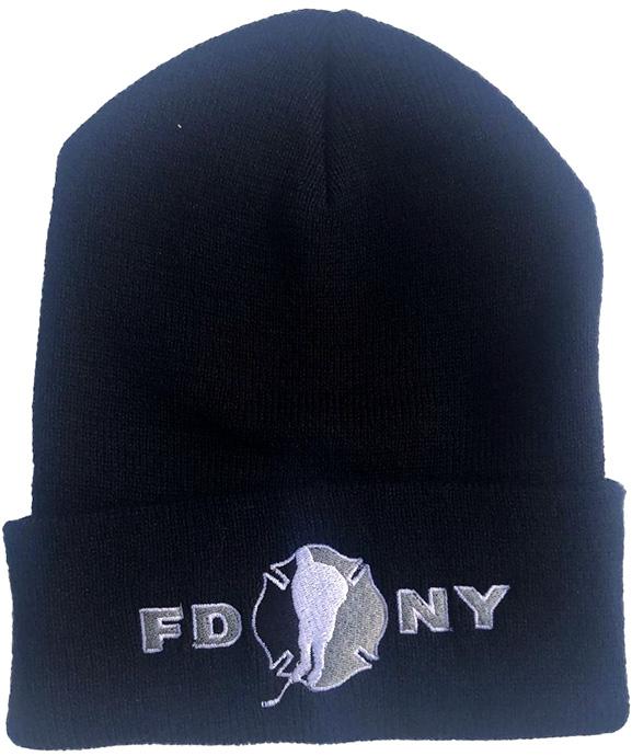 Winter Hat - Black - FDNY Logo in Grey
