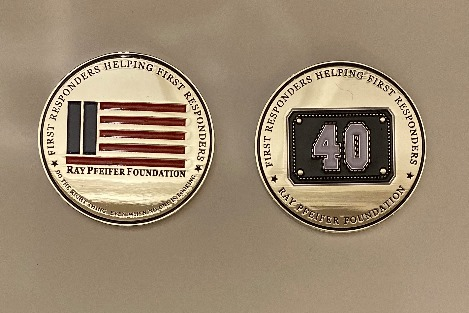 """Ray Pfeifer Foundation 2"""" Challenge Coin with shiny silver face"""